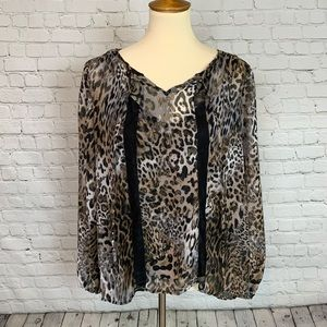 AGB Animal Peasant Blouse Size Large